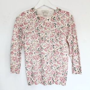 Loft Cardigan Sweater XS Floral Top